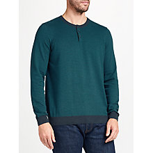 Buy John Lewis Cotton Cashmere Stripe Henley Jumper, Green Online at johnlewis.com