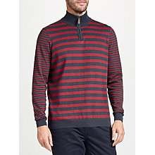 Buy John Lewis Cotton Cashmere Stripe Zip Neck Jumper Online at johnlewis.com