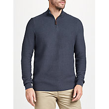 Buy John Lewis Cotton Cashmere Textured Zip Neck Jumper, Navy Online at johnlewis.com