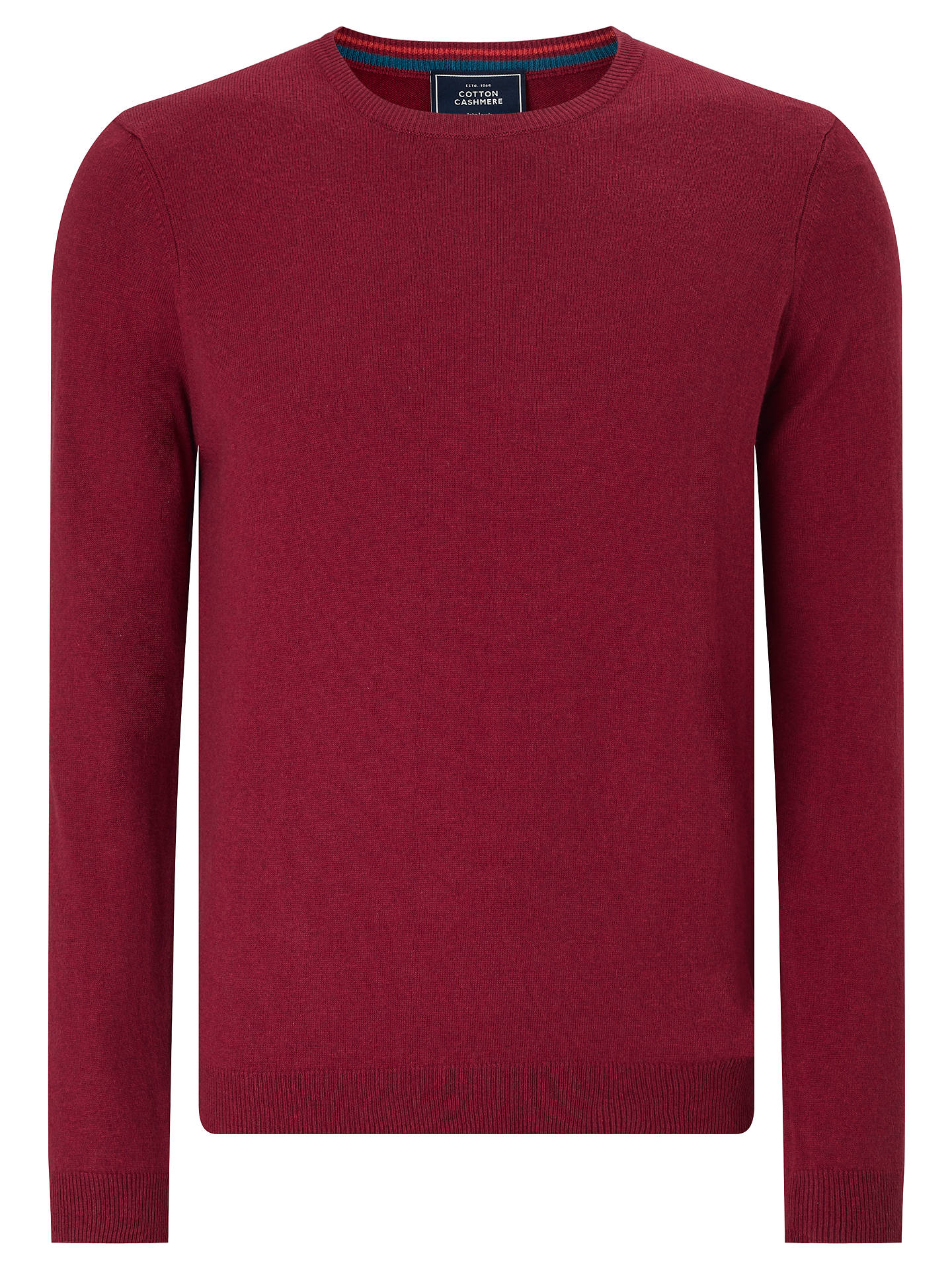 fe19fb723ad4b5 Buy John Lewis Cotton Cashmere Crew Neck Jumper, Red, S Online at johnlewis.