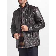 Buy John Lewis Quilted Leather Jacket, Brown Online at johnlewis.com