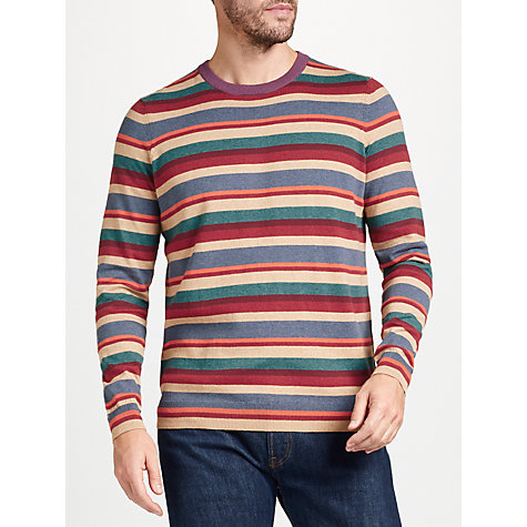 Buy John Lewis Cotton Cashmere Multi Stripe Jumper, Red Online at johnlewis.com