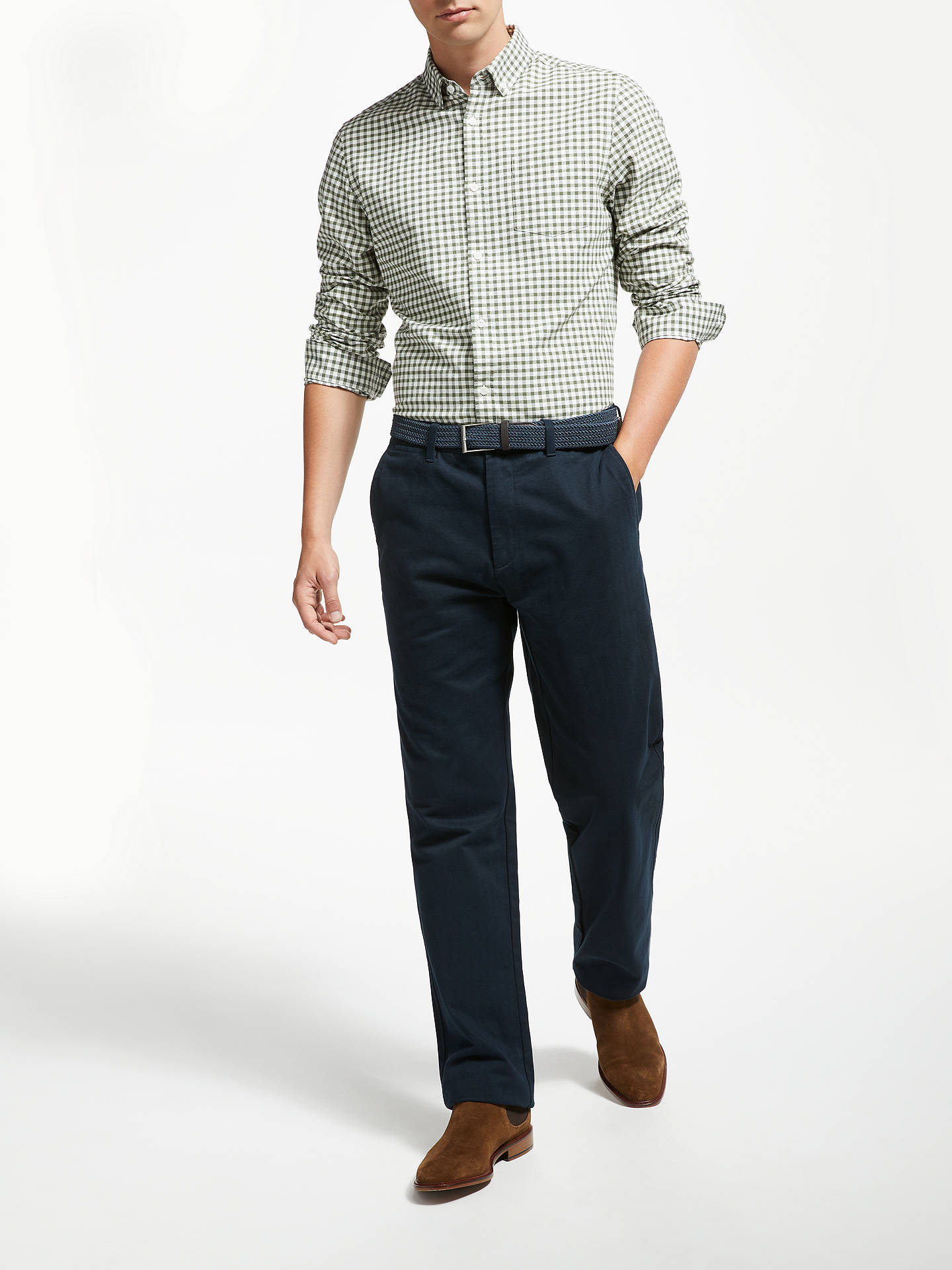 Buy John Lewis & Partners Semi Formal Cotton Trousers with Belt, Navy, 32S Online at johnlewis.com