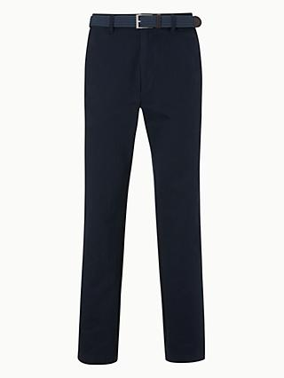 John Lewis & Partners Semi Formal Cotton Trousers with Belt