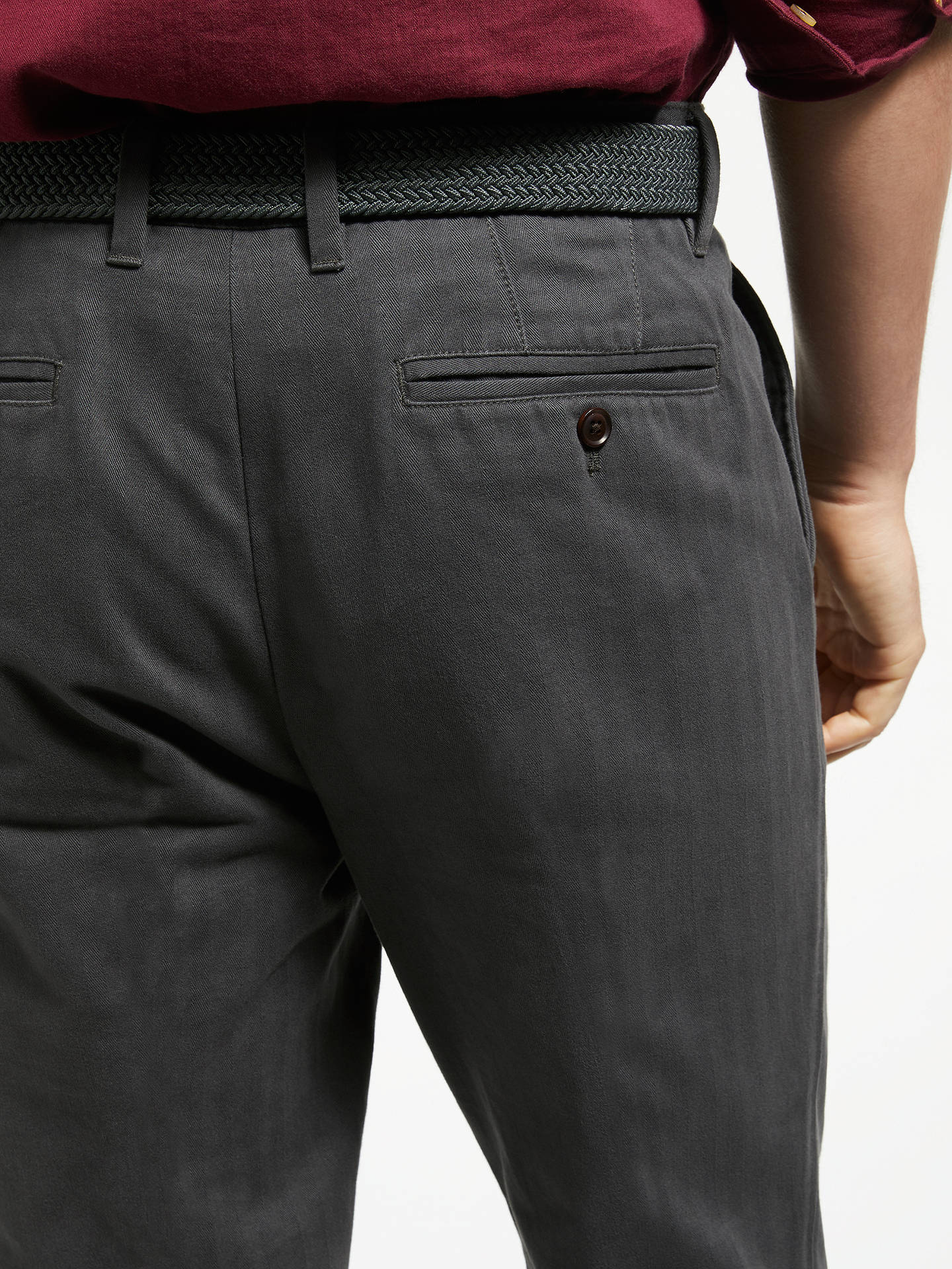 Buy John Lewis & Partners Semi Formal Cotton Trousers with Belt, Grey, 38R Online at johnlewis.com
