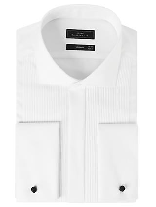John Lewis & Partners Pleat Front Tailored Fit Dress Shirt, White