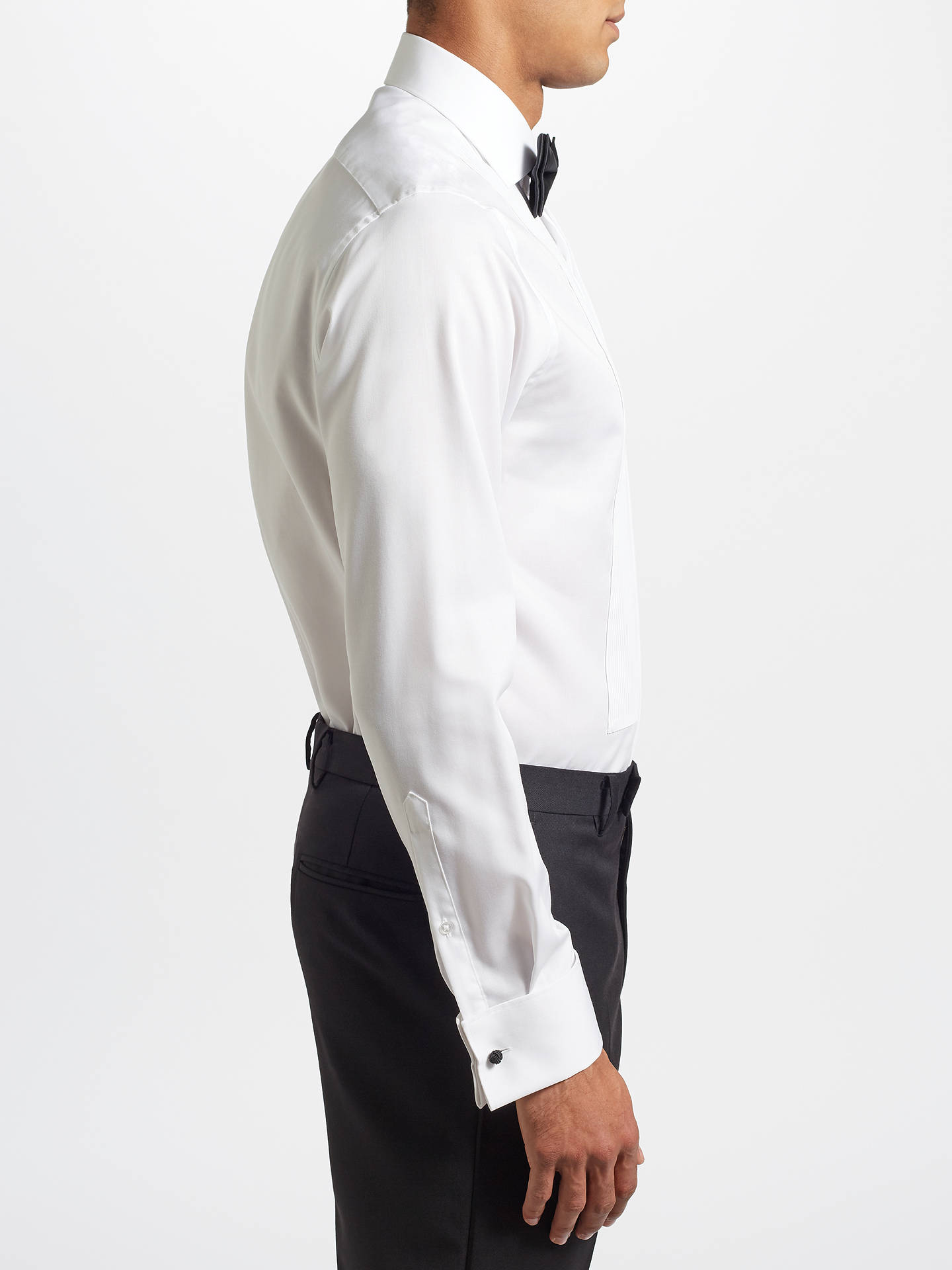 John Lewis Partners Pleat Front Tailored Fit Dress Shirt White At
