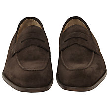 Buy Reiss Kerlon Suede Penny Loafers, Dark Brown Online at johnlewis.com