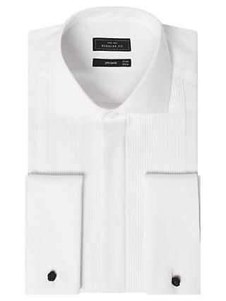 John Lewis & Partners Pleat Front Regular Fit Dress Shirt, White