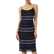 Buy Adrianna Papell Petite Beaded Lace Slip Dress, Black/ Purple Online at johnlewis.com
