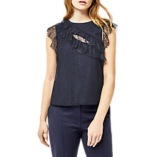 Buy Warehouse Eyelash Lace Top, Blue Online at johnlewis.com