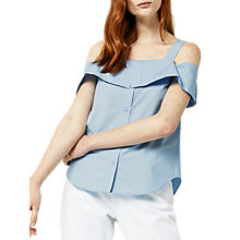 Buy Warehouse Button Through Cotton Cami, Light Blue Online at johnlewis.com