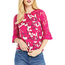 Buy Oasis Magnolia Flute Sleeve Top, Multi Pink Online at johnlewis.com