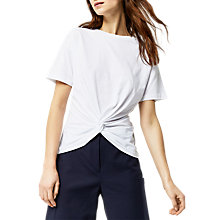 Buy Warehouse Knot Front T-Shirt, White Online at johnlewis.com