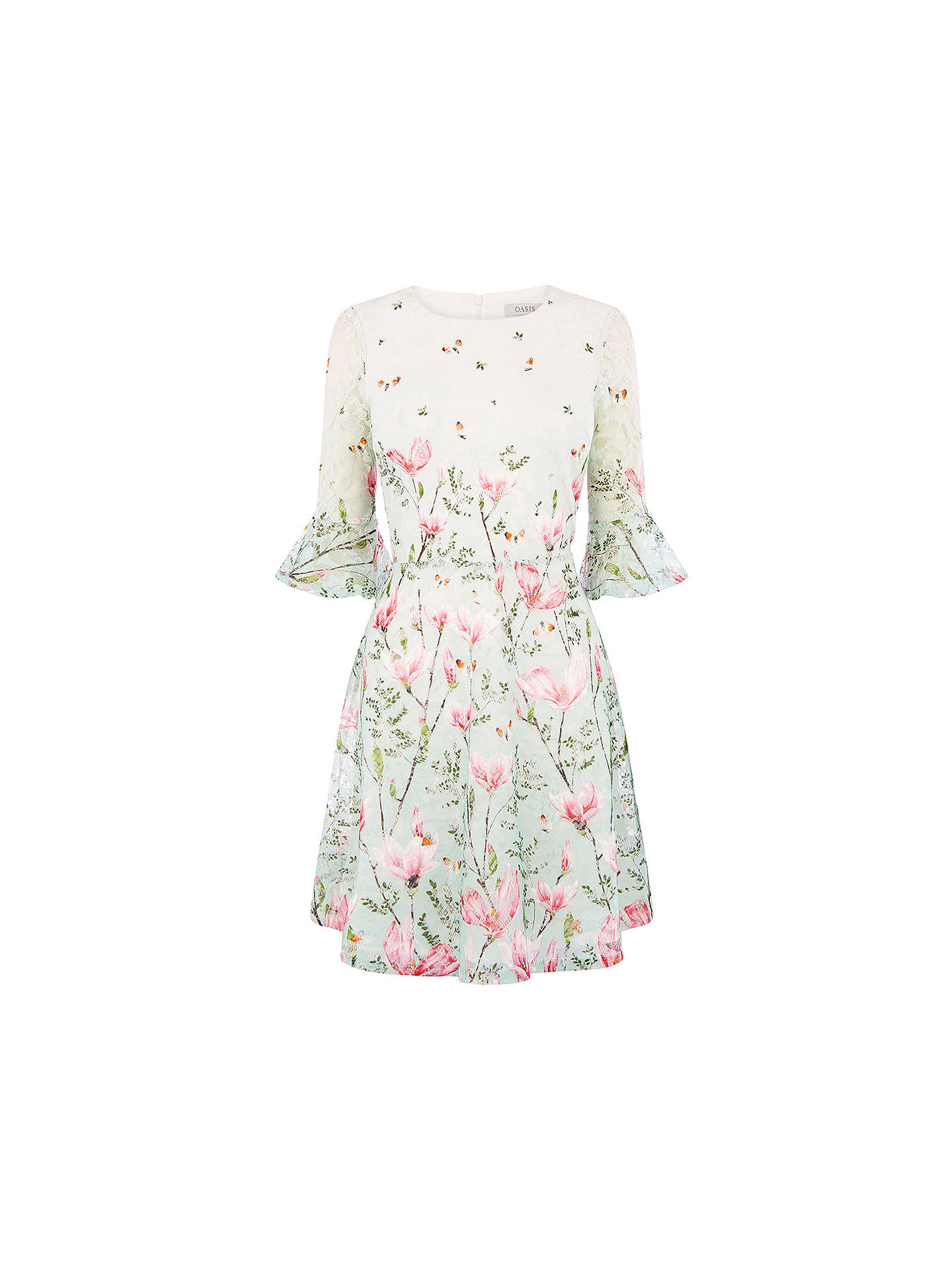 BuyOasis Magnolia Flute Sleeve Dress, Multi, XS Online at johnlewis.com