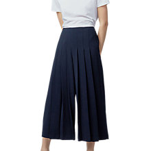 Buy Warehouse Pleated Culottes, Navy Online at johnlewis.com