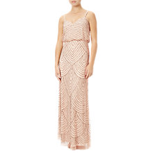 Buy Adrianna Papell Petite Art Deco Beaded Blouson Gown, Blush/Gold Online at johnlewis.com