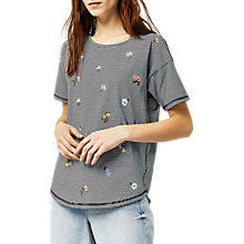 Buy Warehouse Frieda Stripe Embroidered T-Shirt, Multi/Black Online at johnlewis.com