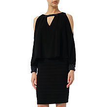 Buy Adrianna Papell Cold Shoulder Pop Over Dress, Black Online at johnlewis.com