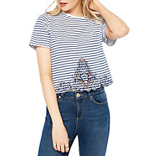 Buy Miss Selfridge Embroidered Crotchet Stripe T-Shirt, Multi Online at johnlewis.com