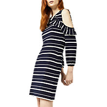 Buy Warehouse Stripe Cold Shoulder Dress, Blue Online at johnlewis.com