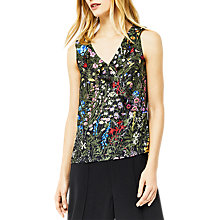 Buy Warehouse Wild Garden Print Frill Top, Multi Online at johnlewis.com