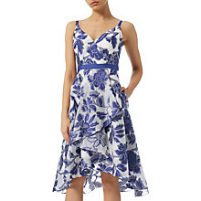 Buy Adrianna Papell Burnout Jacquard Fit And Flare Dress, Royal Blue/Ivory Online at johnlewis.com