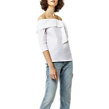 Buy Warehouse Tie Front Bardot Top, White Online at johnlewis.com