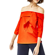 Buy Warehouse Tie Front Bardot Top, Bright Red Online at johnlewis.com