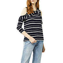 Buy Warehouse Striped Cold Shoulder Top, Blue Online at johnlewis.com