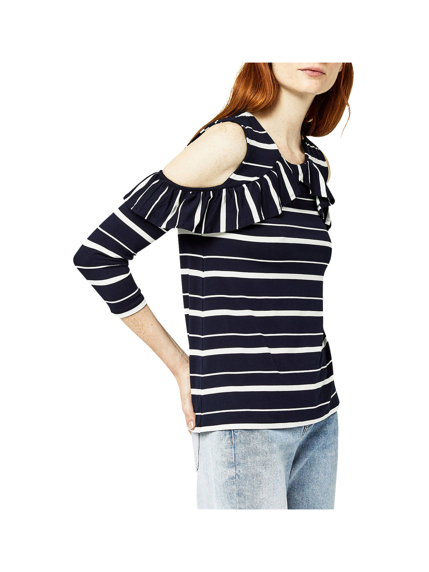 BuyWarehouse Striped Cold Shoulder Top, Blue, 6 Online at johnlewis.com