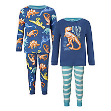 Buy John Lewis Children's Glow In The Dark Dinosaur Pyjamas, Pack of 2, Multi Online at johnlewis.com