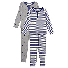 Buy John Lewis Children's Henley Star Print Pyjamas, Pack of 2, Grey Online at johnlewis.com