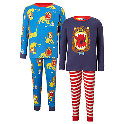 Product photo of John lewis children s lion print pyjamas pack of 2 blue
