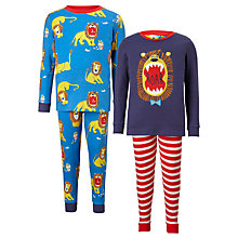 Buy John Lewis Children's Lion Print Pyjamas, Pack of 2, Blue Online at johnlewis.com