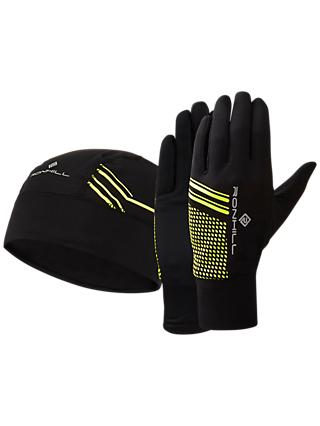 Ronhill Beanie and Glove Set, Black/Yellow
