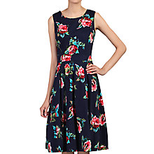 Buy Jolie Moi Floral Pleated Swing Dress, Navy/Cherry Online at johnlewis.com