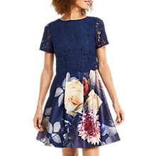 Buy Oasis Lace Bodice Skater Dress, Blue Online at johnlewis.com