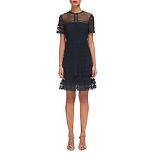 Buy Whistles Indria Lace Ruffle Dress, Navy Online at johnlewis.com