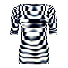 Buy Pure Collection Soft Jersey Slash Neck Top, Black/White Online at johnlewis.com