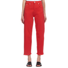 Buy Whistles High Waist Barrel Leg Jeans, Red Online at johnlewis.com