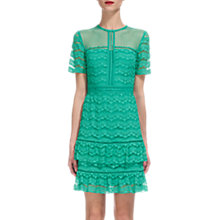 Buy Whistles Indira Lace Ruffle Dress, Turquoise Online at johnlewis.com