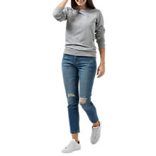 Buy Sugarhill Boutique Feather Embroidered Cotton Sweatshirt, Grey Online at johnlewis.com