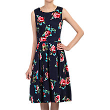 Buy Jolie Moi Floral Pleated Swing Dress, Navy Floral Online at johnlewis.com