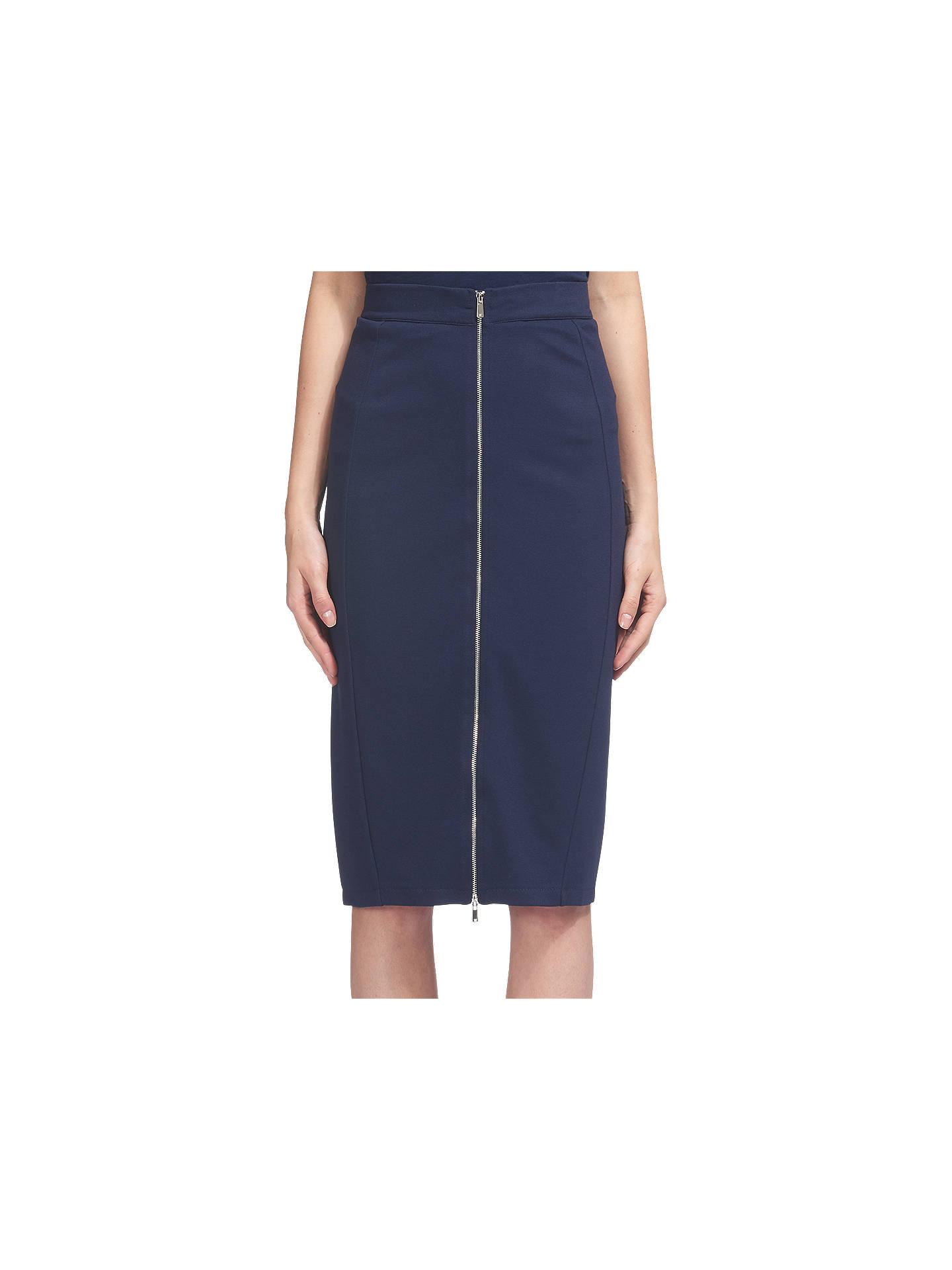 aef8cd5bf1 Buy Whistles Jersey Zip Tube Skirt, Navy, 6 Online at johnlewis.com