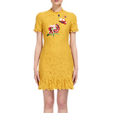 Buy Whistles Lace Frill Hem Shift Dress, Yellow Online at johnlewis.com