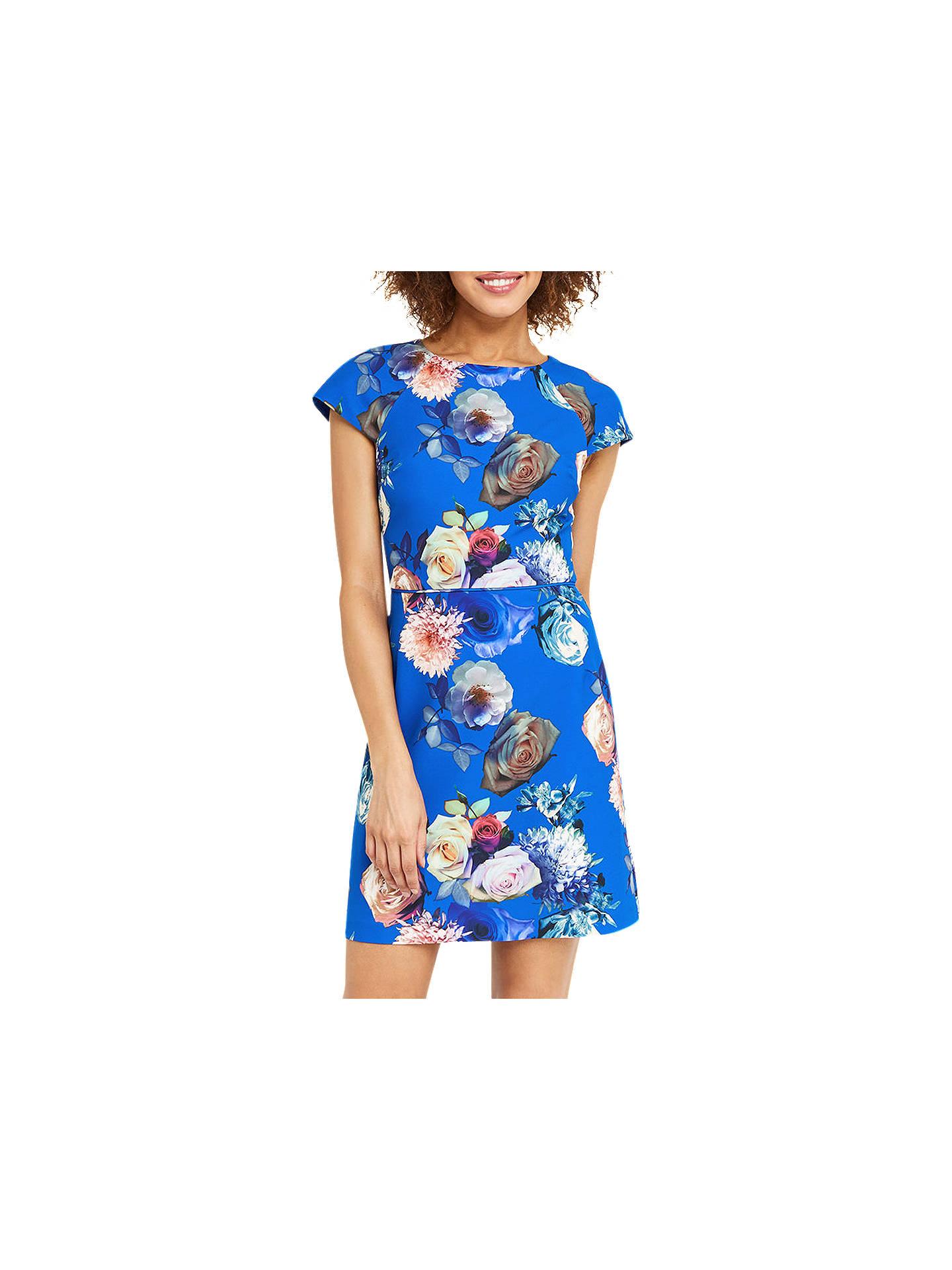 551439472b03 Buy Oasis Rose Short Sleeve Shift Dress, Multi Blue, 6 Online at johnlewis.