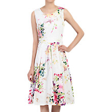 Buy Jolie Moi Floral Print Pleated Dress, White Multi Online at johnlewis.com