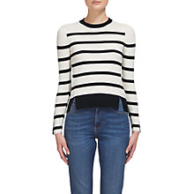 Buy Whistles Breton Stripe Button Cuff Jumper, White Online at johnlewis.com
