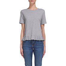 Buy Whistles Marl Cotton Peplum T-shirt, Grey Marl Online at johnlewis.com